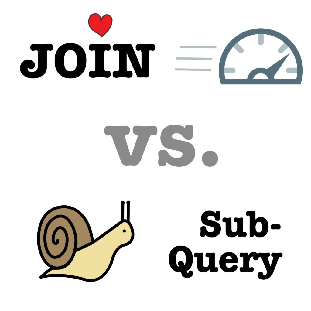 Best practice: Always use JOIN in favour of subquery